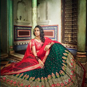 Green Colour Net Sequence & Thread Work Lehenga Choli