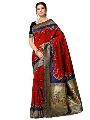 Red Banarasi Jacquard Designer Woven Zari Work Saree