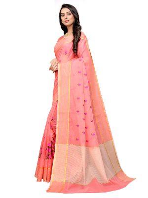 Peach Cotton Silk Designer Embroidered Buti Work Saree