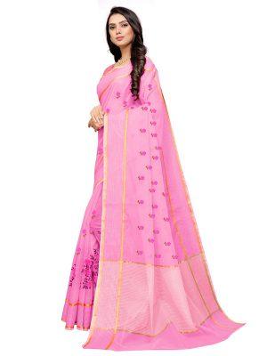 Pink Cotton Silk Designer Embroidered Buti Work Saree