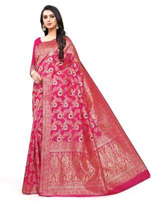 Sky Blue Banarsi Jacquard Silk Designer Woven Zari Work Saree