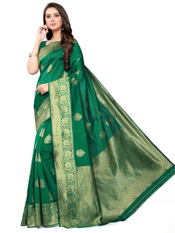 Green Banarsi Jacquard Silk Designer Woven Zari Work Saree
