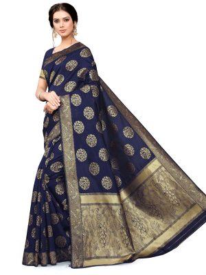 Blue Banarsi Jacquard Silk Designer Woven Zari Work Saree