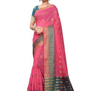 Pink Poly Cotton Designer Woven Zari Work Saree