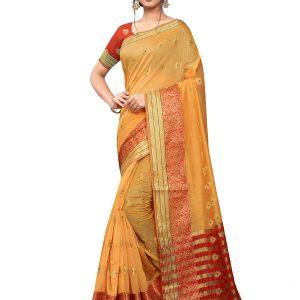 Orange Poly Cotton Designer Woven Zari Work Saree