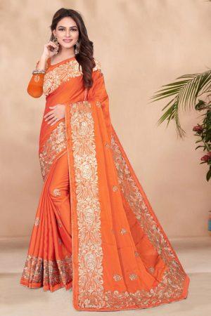 Festival Wear Orange Rangoli Embroidery Work Saree