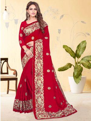 Festival Wear Red Rangoli Embroidery Work Saree