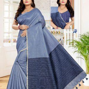 Casual Wear Blue Cotton Linen Saree