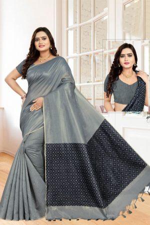 Casual Wear Grey Cotton Linen Saree