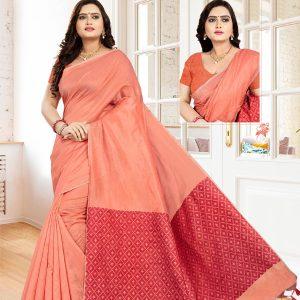 Casual Wear Peach Cotton Linen Saree