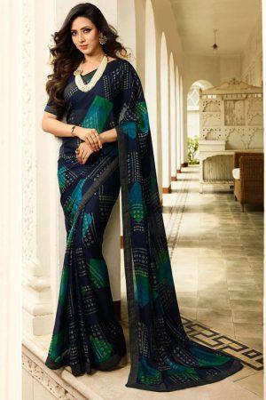 Designer Partywear Printed Navy Blue White Rangoli Fancy Saree
