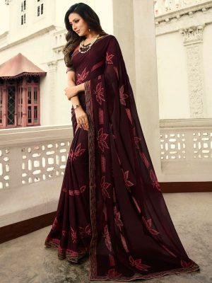 Designer Partywear Printed Wine White Rangoli Fancy Saree