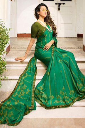 Designer Partywear Printed Green White Rangoli Fancy Saree