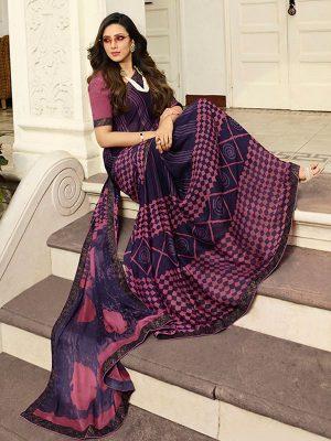 Designer Partywear Printed Violet White Rangoli Fancy Saree