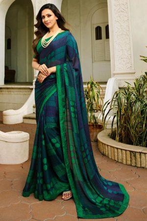 Designer Partywear Printed Blue and Green White Rangoli Fancy Saree