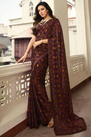 Designer Partywear Printed Chocolate White Rangoli Fancy Saree