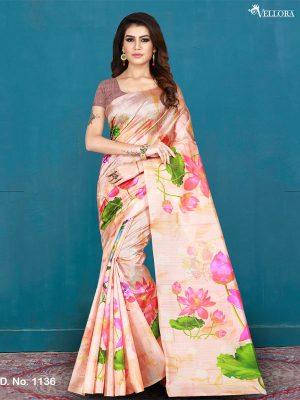 Multicolor Silk Digital Print Saree