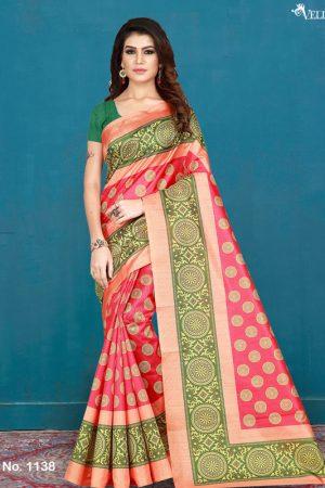 Pink Cotton Digital Print Saree