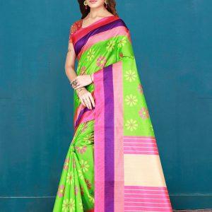 Green Cotton Digital Print Saree