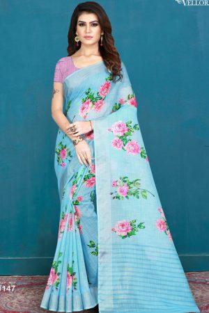 Light Blue Khadi Silk Digital Print Saree