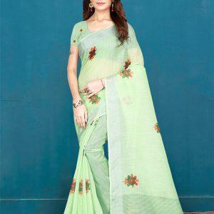 Light Green Khadi Silk Digital Print Saree