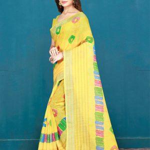 Yellow Cotton Digital Print Saree