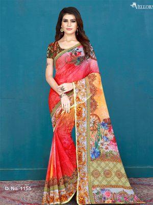 Multicolor Cotton Digital Print Saree
