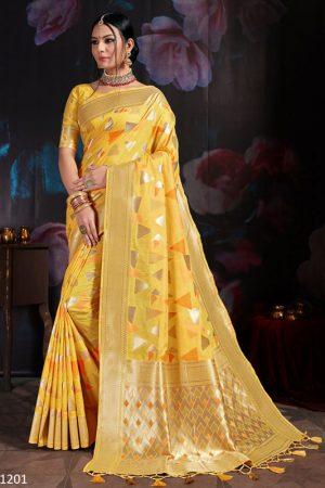 Yellow Banarasi Cotton Silk Digital Print Saree