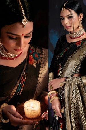 Black Banarasi Cotton Silk Digital Print Saree