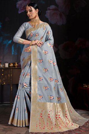 Light Grey Banarasi Cotton Silk Digital Print Saree