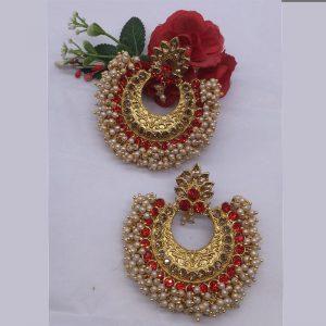 Designer Orange Colour Alloy And Copper Latest Earrings for women