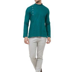 Green Colour Cotton Kurta Pajama For Men