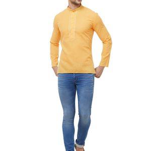Orange Colour Cotton Kurta Pajama For Men