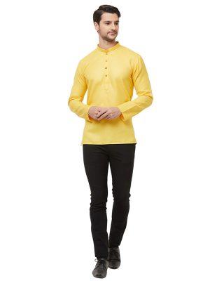 Yellow Colour Cotton Kurta Pajama For Men