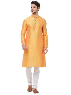 Orange Colour Silk Kurta Pajama For Men