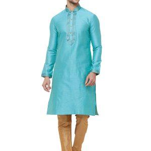 Blue Colour Silk Kurta Pajama For Men