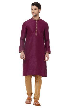 Purple Colour Silk Kurta Pajama For Men