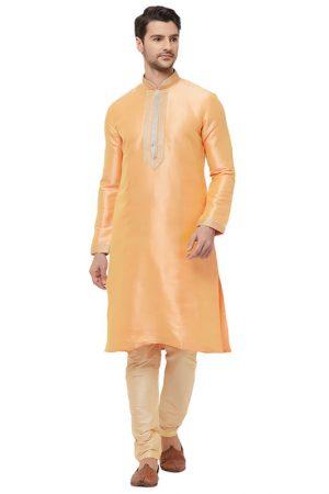 Peach Colour Silk Kurta Pajama For Men