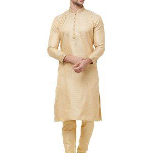Gold Colour Silk Kurta Pajama For Men