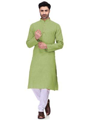 Green Colour Art Silk Kurta Pajama For Men