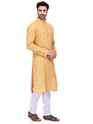 Yellow Colour Art Silk Kurta Pajama For Men