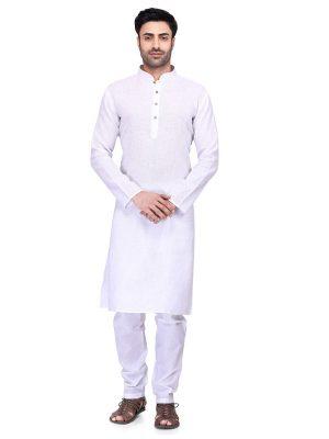 White Colour Art Silk Kurta Pajama For Men