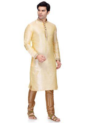 Cream Colour Art Silk Kurta Pajama For Men