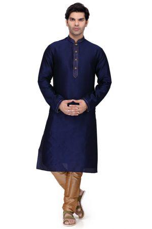 Navy Blue Colour Art Silk Kurta Pajama For Men