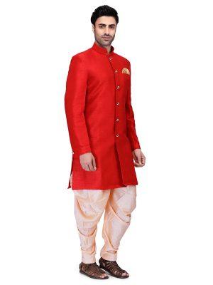 Red Colour Art Silk Kurta Pajama For Men