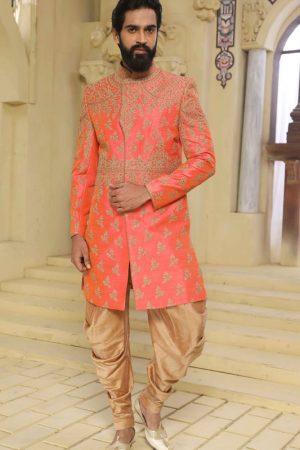 Pink Raw Silk Machine Work & Hand Work Sherwani