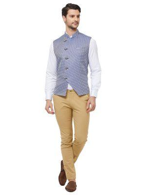 Blue Colour Brocade Modi Jacket