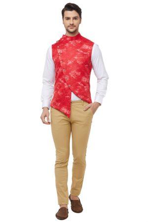 Red Colour Silk Blend Modi Jacket
