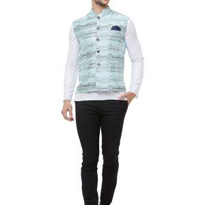 Blue Colour Silk Blend Modi Jacket