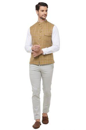 Gold Colour Cotton Blend Modi Jacket